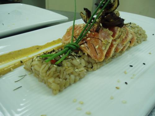 salmon chirashi over barley