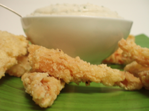 fried shrimp triangles with goat cheese 'cool ranch'