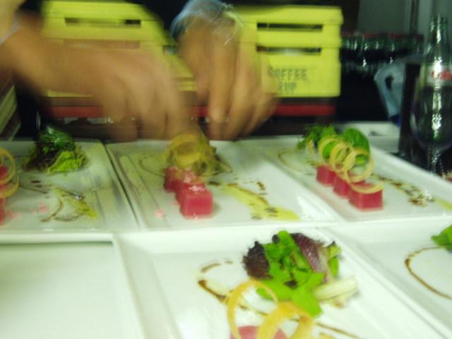 raw tuna with watermelon pop rocks